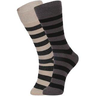 DUKK Men's Beige  Black Glean Length Cotton Lycra Socks (Pack of 2)