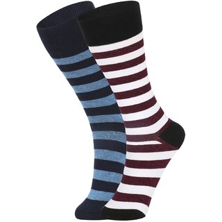 DUKK Men's Blue  White Glean Length Cotton Lycra Socks (Pack of 2)
