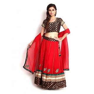 Red  Black Banarasi and Georgette Lehenga