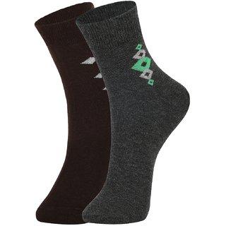 DUKK Men's Brown  Grey Ankle Length Cotton Lycra Socks (Pack of 2)