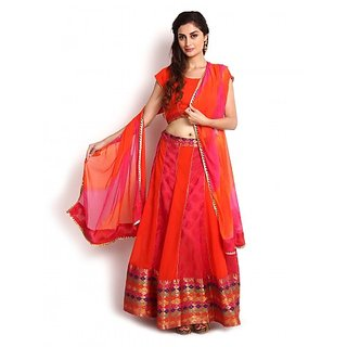 Pink  Orange Banarasi and Georgette Lehenga