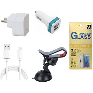 13Tech 1.0 Amp USB Charger+1.5 mtr Copper (Data Transfer+Charging) Cable +2 Jack Car Charger+Mobile Holder+Tempered Glass for Lava A71
