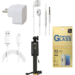 13Tech 1.0 Amp USB Charger+1.5 mtr Copper (Data Transfer+Charging) Cable+Universal Handsfree 3.5 mm Jack Headphones+Sefie Stick Aux+Tempered Glass for Samsung Galaxy Grand 2