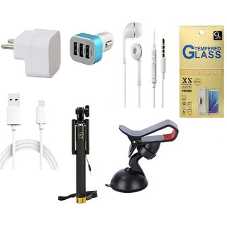 13Tech 1.0 Amp USB Charger+3 mtr Copper (Data Transfer+Charging) Cable +Universal Handsfree 3.5 mm Jack Headphones+3 Jack Car Charger+Sefie Stick Aux+Mobile Holder+Tempered Glass for Samsung Galaxy J5