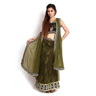 Pine Green Mermaid Cut Banarasi  Net Lehenga