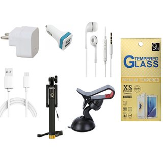 13Tech 1.0 Amp USB Charger+1.5 mtr Copper (Data Transfer+Charging) Cable+Universal Handsfree 3.5 mm Jack Headphones+2 Jack Car Charger+Sefie Stick Aux+Mobile Holder+Tempered Glass for Samsung Galaxy Grand Prime