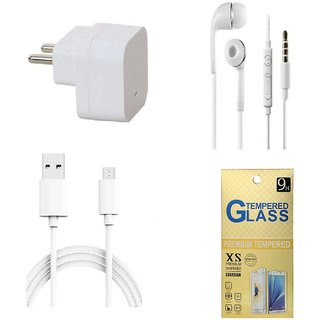 13Tech 1.0 Amp USB Charger+1.5 mtr Copper (Data Transfer+Charging) Cable+Universal Handsfree 3.5 mm Jack Headphones+Tempered Glass for Samsung Galaxy J3