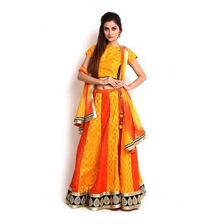 Yellow  Orange Banarasi Lehenga