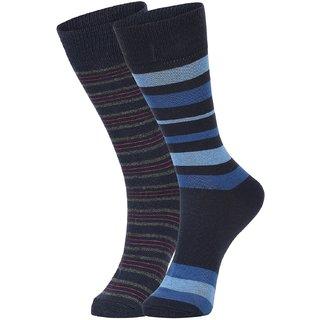 DUKK Men's Navy Blue  Blue Glean Length Cotton Lycra Socks (Pack of 2)