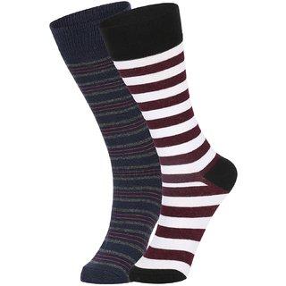 DUKK Men's Navy Blue  White Glean Length Cotton Lycra Socks (Pack of 2)