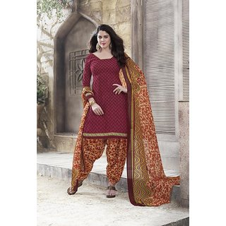 Vaikunth maroon colour Cotton printed Unstitched patiala dress material