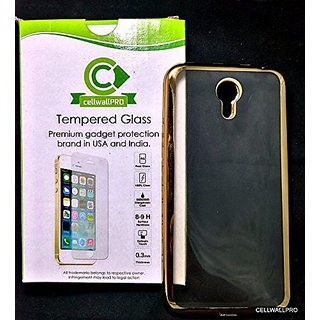 cellwallPRO combo golden case and glass- combo of golden edge soft soft case WITH cellwallPRO BRAND tempered glass