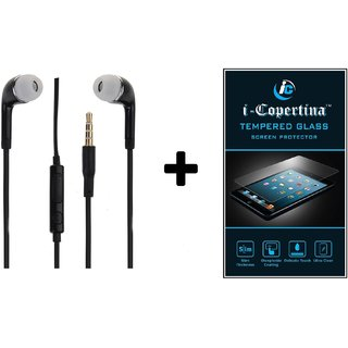 Stereo Earphone 3.5mm Black With Mic  Tempered Glass For LeEco LEtv LE 1S