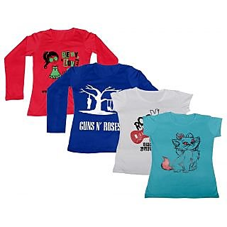 Indistar Women Combo Pack Offer 2 Full Sleeves and 2 Half Sleeves Printed T-Shirt (Set of -4)