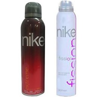 Nike Deodorants Extreme for men and Fission for Women 200ml Each (Pack of 2)