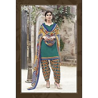 Vaikunth Aqua green colour Cotton printed Unstitched patiala dress material