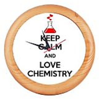 Printed Rounded Wooden wall clocks Asns Online Services - KEEP CALM LOVE CHEMISTRY