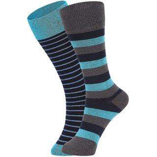DUKK Men's Turquoise Glean Length Cotton Lycra Socks (Pack of 2)