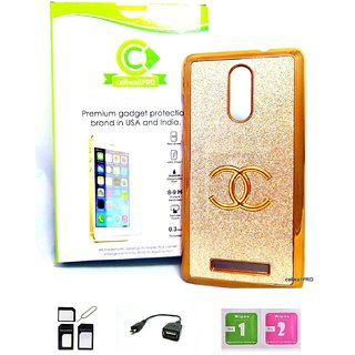 CellwallPRO redmi note 3 fency golden hard case acceessory kit with OTG cabel and sim adapter kit