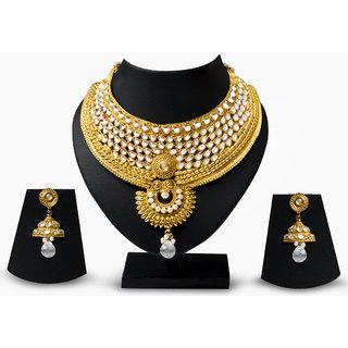 Adorzia  Antique Designer Choker golden Bridal Necklace Set  ADOJW0252
