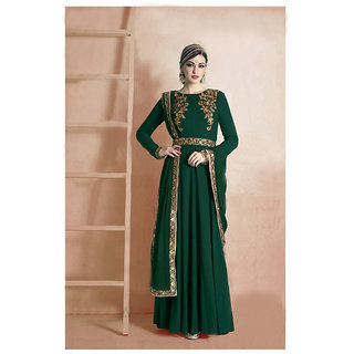 Ladyview Dark Green  Beige Embroidered Georgette Anarkali Suit