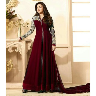 Ladyview Maroon Embroidered Georgette Anarkali Suit