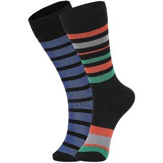 DUKK Men's Black  Green Glean Length Cotton Lycra Socks (Pack of 2)