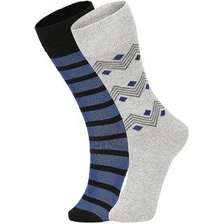 DUKK Men's Black  Grey Glean Length Cotton Lycra Socks (Pack of 2)