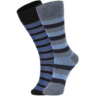 DUKK Men's Black  Turquoise Glean Length Cotton Lycra Socks (Pack of 2)