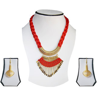 simbright red gold costume tribal necklace set
