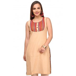 Be-Beu Beige Cotton Straight Kurti
