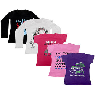 IndiWeaves Women Combo Pack Offer 2 Full Sleeves and 3 Half Sleeves Printed T-Shirt (Set of -5)