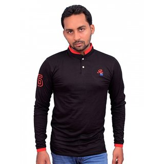 SSB Polo Neck Black Color Full Sleeve T Shirts