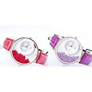 super comboWOmen Lady Wadding Fashion Combo Of Tow(red Perpal) Women And Girl Watch