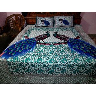 Turkish pecock 100 cotton bedsheet with 2 pillow