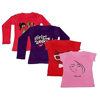 IndiWeaves Women Combo Pack Offer 2 Full Sleeves and 2 Half Sleeves Printed T-Shirt (Set of -4)