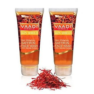 Vaadi Herbals Skin Whitening Saffron Face Wash with Sandal Extract (60 ml X 2)