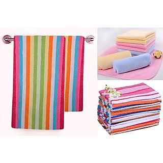 Destination soft touch Terry Cotton White,Blue,Orange Towel Sets (58X39 Inch) Combo Of 5
