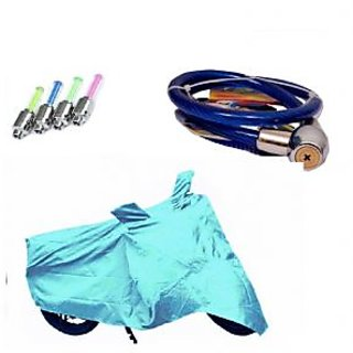 Bull Rider Bike Body Cover with Mirror Pocket for Hero Splender Pro Classic (Colour Cyan) + Free (LED Light + Helmet Safety Lock) Worth Rs 250