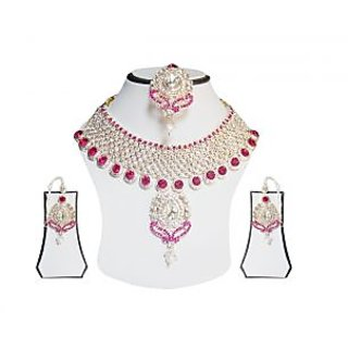 simbright pink white silver designer necklace set with maang teeka