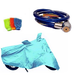 Bull Rider Bike Body Cover with Mirror Pocket for Bajaj Pulsar 135 LS (Colour Cyan) + Free (Microfiber Gloves + Helmet Safety Lock) Worth Rs 250