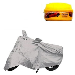 Bull Rider Bike Body Cover With Mirror Pocket For Bajaj Platina 100 (Colour Silver) + Free Wax Shine Polish Worth Rs 100/