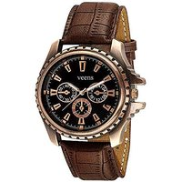 Round Analog Brown Leather Men Quartz Watch