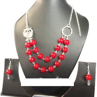 Handmade  Fashion Necklace (Glass Bead with Oxidized Silver pendent)