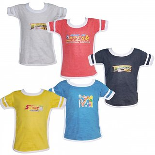 Combo of 5 Cotton Half Sleeve  Tshirt for Boys