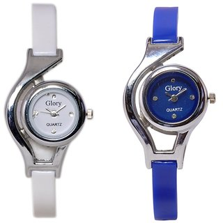 Glory Deginer Multicolor Analog Watch Combo (white  Blue)