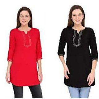 Fashion World Black  Red Plain Cotton Straight Kurti