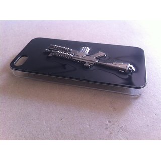 Luxury Fashion White Metal Gun Model Hard Shell Back Cover Case For iPhone 4G 4S