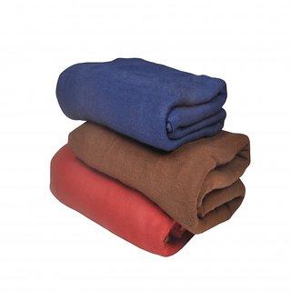 aba44bf3ac Polar Fleece Plain Single Bed Blanket Set Of 3 By SNS