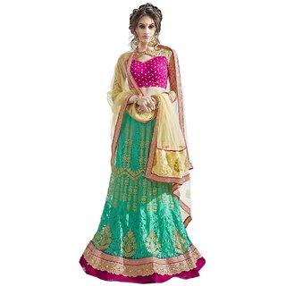 Triveni Sensational Green Colored Embroidered Satin Net Lehenga Choli